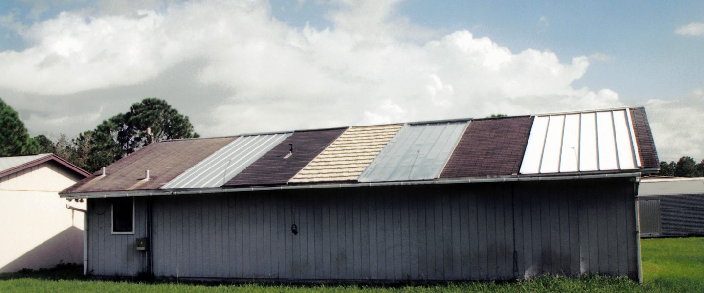 The Flexible Roof Facility, a highly instrumented research facility capable of testing several energy efficient roofing strategies side-by-side on top of a modular building, image.