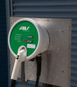 Close-up of round-faced EV charger.