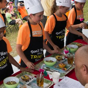 students presenting food at the EnergyWhiz Cook-Off, photo