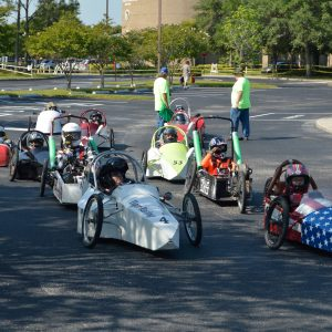 Electrathon cars line up for a race at EnergyWhiz, photo.