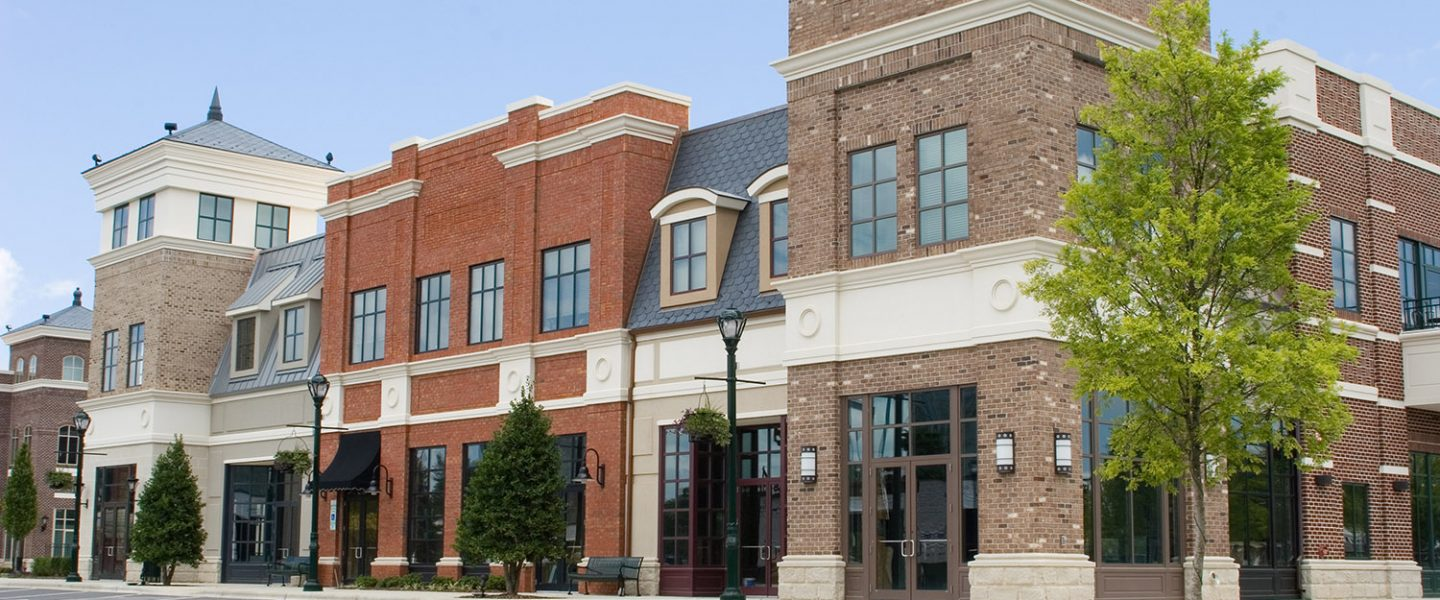 A beautiful new upscale commercial building shopping center with no tenants.
