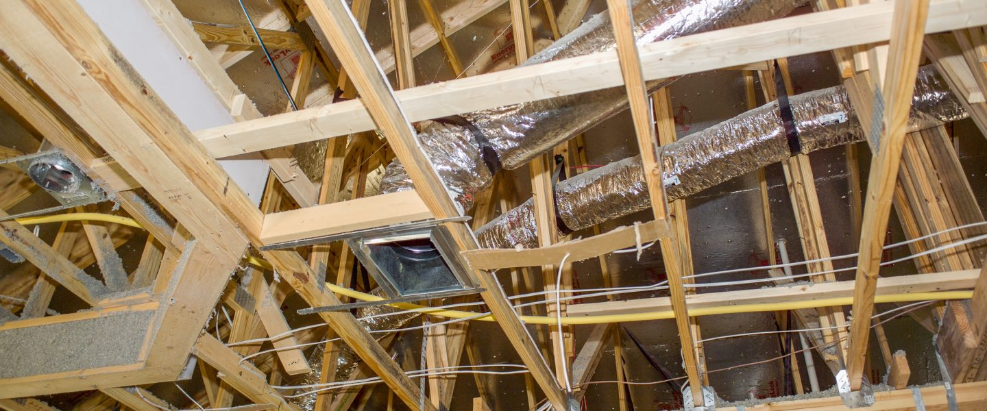 Duct work and a radiant barrier are visible in this photo of a new construction house in Florida.