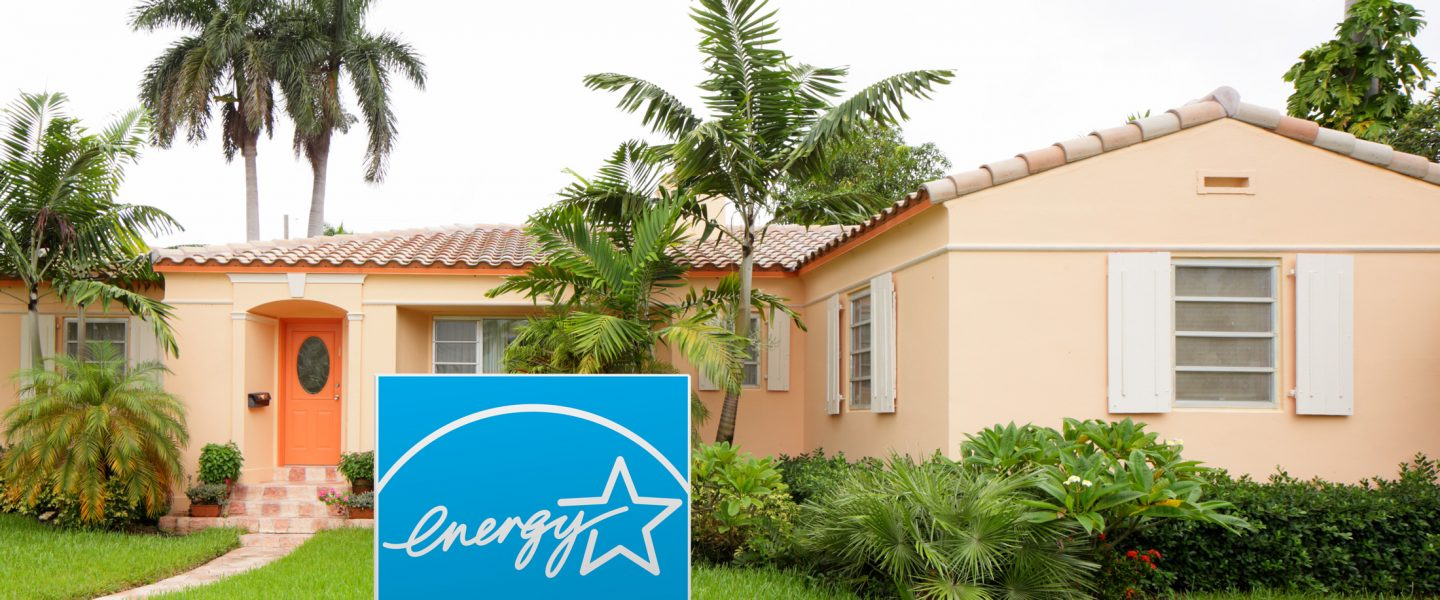 ENERGY STAR rated Florida home with sign in the front lawn