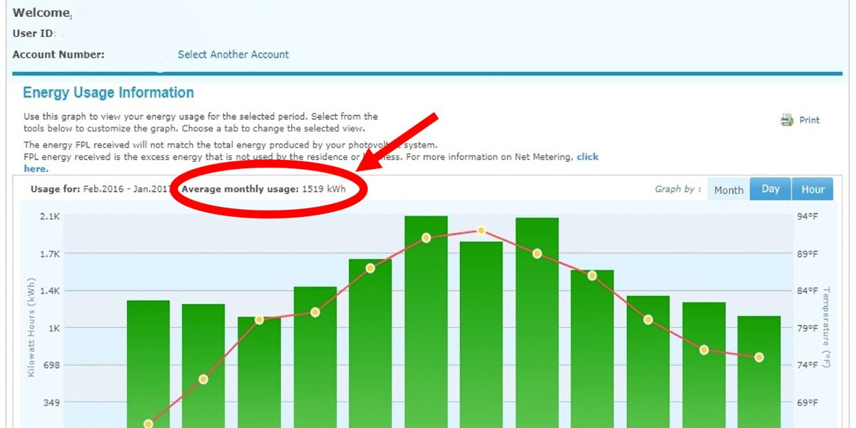 FPL utility bill Energy Usage Information for 12 months screen capture