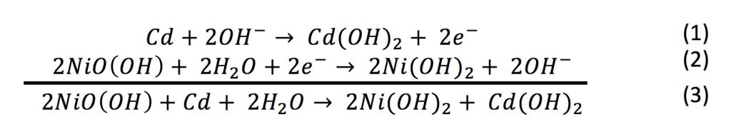 Equation illustrating the oxidation, reduction and net reactions for a nickel-cadmium battery during discharge.