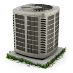 Heating and air conditioner unit on the stand 3D illustration