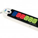 smart power strip with blue, red, and green outlets