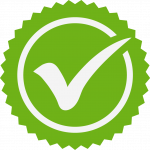 Green seal with white cirlcle and checkmark