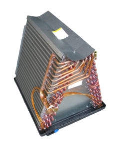 copper coils and fins make up the evaporator coil.