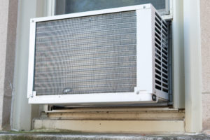 A simple window air conditioning unit.