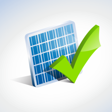 solar PV cell and green checkmark