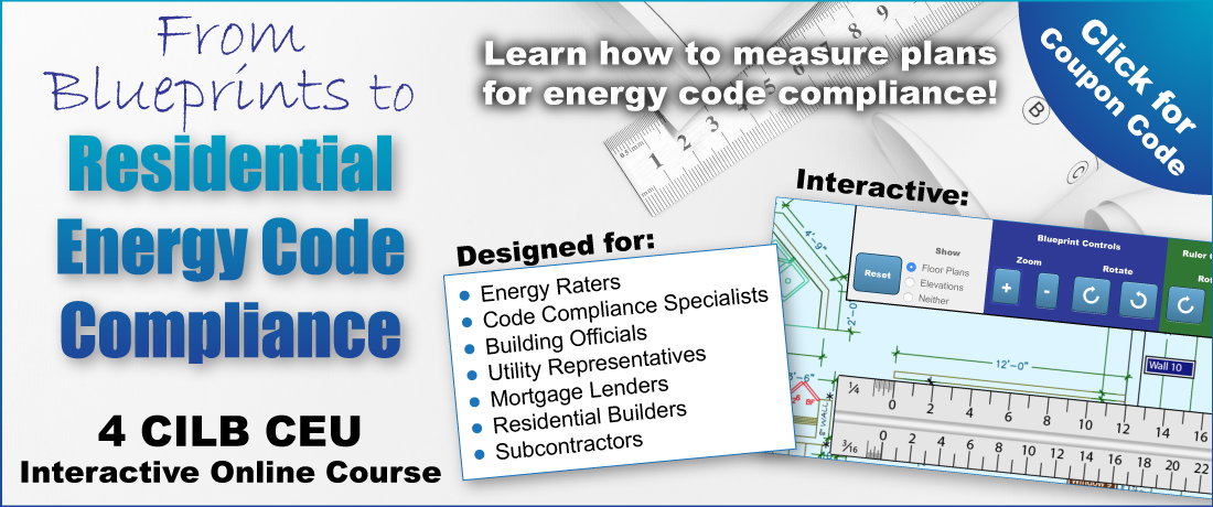 An ad for the online course From Blueprints to Residential Energy Code Compliance