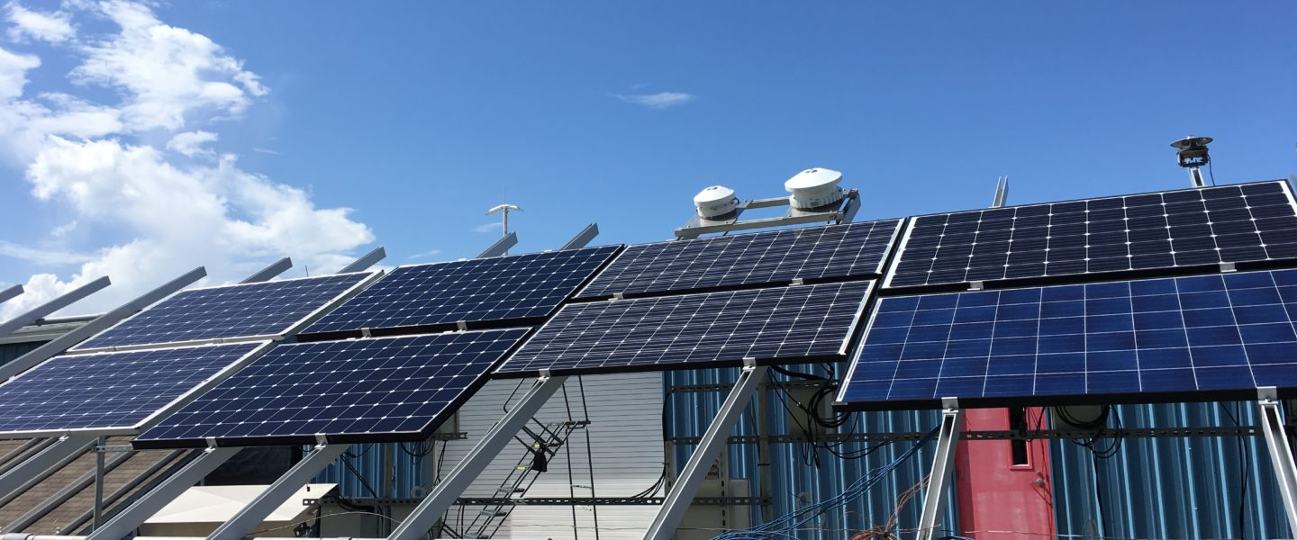 Five different types of PV modules are being tested outdoors at FSEC.