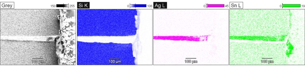 EDX chemical maps of a photovoltaic cell sample