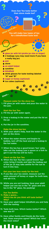 sun tea activity instructions